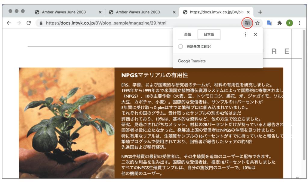 自動翻訳のボタンをクリックすると、下図のように自動翻訳されました